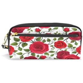 ALAZA 赤い バラ 花 鉛筆 ケース ジッパー Pu 革製 化粧品 化粧 バッグ 多機能 ペン 文房具 ポーチ バッグ 大容量