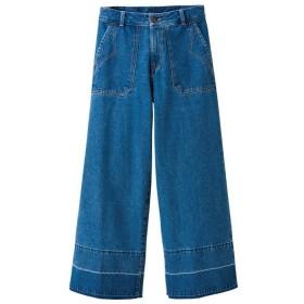 GeeRA 裾デザインデニムワイドパンツ ブルー ウエスト61cm レディース 5,000円(税抜)以上購入で送料無料 デニムパンツ 夏 レディースファッション アパレル 通販 大きいサイズ コーデ 安い おしゃれ お洒落 20代 30代 40代 50代 女性 パンツ ズボン