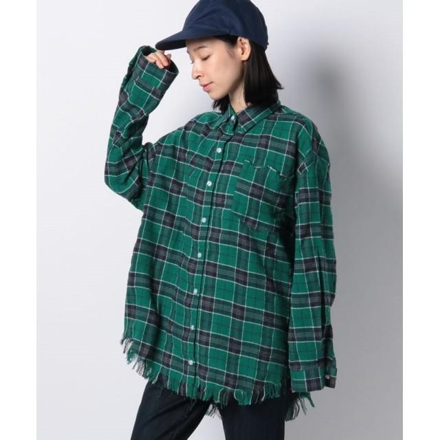 プニュズ ダメージチェックシャツ レディース グリーン 1 【PUNYUS】