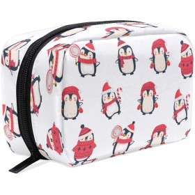 Carrozza 化粧ポーチ メイクボックス ポーチ 仕切り レディース 女の子 学生 おしゃれ ペンギン 動物 クリスマス 化粧バッグ メイクポーチ 化粧ボックス コスメバッグ 小物ケース かわいい