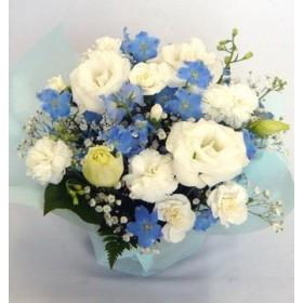 お供えのお花 フラワーアレンジメント (白・ブルー)