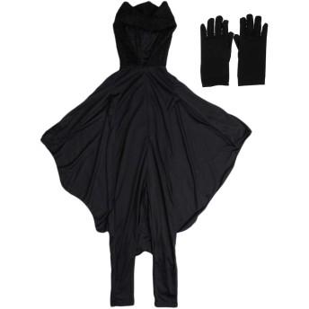 perfk 子供 吸血鬼 ドラキュラ ヴァンパイア 蝙蝠 ハロウィン 仮装 手袋付き 伸縮性 通気性 全4サイズ - L