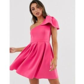 レースドインラブ Laced In Love レディース ワンピース ミニ丈 ワンピース・ドレス one shoulder mini scuba dress in pink ホットフュ