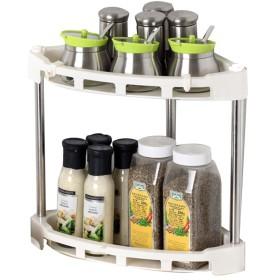 PENGFEI キッチン収納りキッチンラック収納棚スパイスシェルフ 調味料ボトルホルダー 多機能 角度 ブラケット ステンレス鋼 2/3/4層、 3サイズ ( 色 : ベージュ , サイズ さいず : 29x29x37CM )