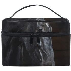 メイクポーチ 馬 アニマル 黒色 化粧ポーチ 化粧箱 バニティポーチ コスメポーチ 化粧品 収納 雑貨 小物入れ 女性 超軽量 機能的 大容量