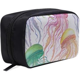 GGSXD メイクポーチ 海のクラゲ ボックス コスメ収納 化粧品収納ケース 大容量 収納 化粧品入れ 化粧バッグ 旅行用 メイクブラシバッグ 化粧箱 持ち運び便利 プロ用