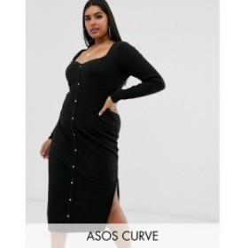 エイソス ASOS Curve レディース ワンピース ミドル丈 ワンピース・ドレス ASOS DESIGN Curve sweetheart neck popper front midi dress