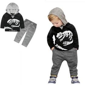 恐竜 2点セット(上着+パンツ) 子供服 男の子 赤ちゃん服 幼児 女の子 長袖 5サイズ キッズ服 フード付き 80CM-90CM-100CM-110CM-120CM(2歳-6歳) (80CM/2歳, 写真のように)