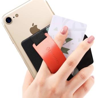Sinjimoru スマホスタンド カード入れ、落下防止 ハンドストラップにどこでも楽に動画 視聴できるレザースタンド、運転免許証、クレジットカード SUICAなどカード入れできる 手帳型 カードホルダー。シンジポーチ B-GRIP オレンジ。