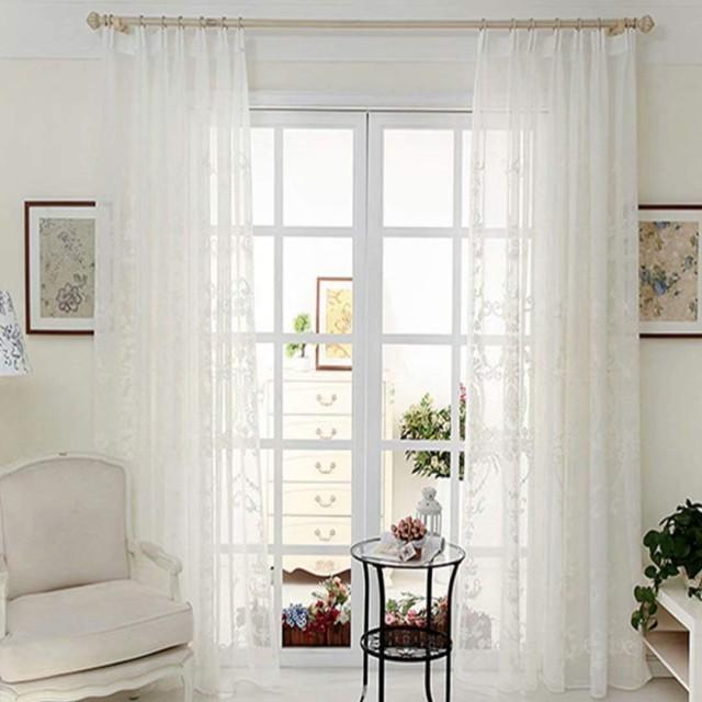 カーテン 姫系 レースカーテン 刺繍 インテリア ミラーレースカーテン 遮像 外から見えにくい おしゃれ 遮熱 可愛い ホワイト 白色 薄手 洗濯可能 1枚組 2枚組 全23サイズ OSONA