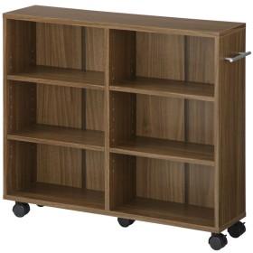 ぼん家具 【完成品】 本棚 キャスター付き 隙間収納 木製 ワゴン 押し入れ収納 〔幅20cm〕 取っ手が右側 ウォールナット