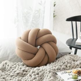 大きい手作りの結び目の枕、ミニ球形の結び目のクッション、装飾的なクッション、保育園の装飾、現代の家のソファーの装飾、子供部屋の装飾 (Color : Coffee)