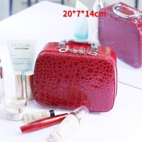 グリッド 化粧ポーチ メイクボックス, 化粧バッグ旅行 大容量 収納ボックス な 小さな ポータブル スーツケース女性 かわいい 防水 女性化粧品バッグ-赤 20x7x14cm(8x3x6inch)