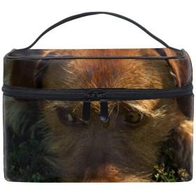 化粧ポーチ メイク収納 中身が見やすい犬 持ち運び用 小物入れ