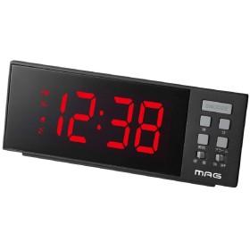 MAG(マグ) 目覚まし時計 非電波 デジタル レッドチャージ USBポート付き ブラック T-738BK