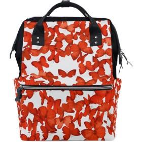ママリュック 蝶 赤い きれい ミイラバッグ デイパック レディース 大容量 多機能 旅行用 看護バッグ 耐久性 防水 収納 調整可能 リュックサック 男女兼用