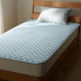 [ベルメゾン] ベッドパッド・敷きパッド 先染め 綿100% ブルー シングル