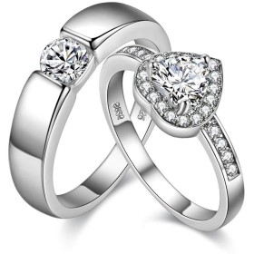 Uloveido 婚約指輪 ペア プラチナメッキ ハート 結婚 婚約指輪 女性 男性 バレンタインデー カップル ギフト J002M ホワイト