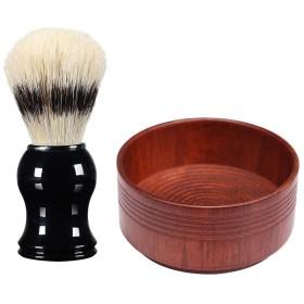 シェービングブラシ シェービングボウル メンズ用 理容 洗顔 髭剃り メンズ 実用的 全3スタイル - 03, 説明のとおり