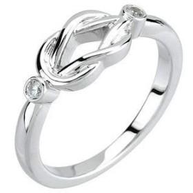 Jewels By Lux レディース K14ホワイトゴールド0.06 CTWダイヤモンドノットリングサイズ7