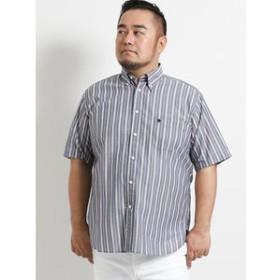 【GRAND-BACK:トップス】【大きいサイズ】ポロ/POLO サッカーストライプ半袖ボタンダウンシャツ
