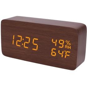 Raercodia 木製 目覚まし時計 モダン ウッド デジタル 電子 デスククロック スヌーズ LED表示時間 温度湿度 ボイスコントロール 3アラーム3 明るさクロック ホーム キッズ ベッドルーム オフィス 用 ブラウン、オレンジ、USBパワー