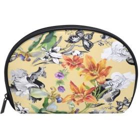 ALAZA 蝶花 半月 化粧品 メイク トイレタリーバッグ ポーチ 旅行ハンディ財布オーガナイザーバッグ