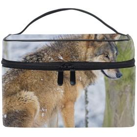 狼コスメ 化粧 ポーチ レディース 大容量 コンパクト 中身が見やすい 防水 シンプル 小物入れ 旅行