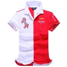 crazy(クレイジー)ポロシャツ メンズ 半袖 刺繍 綿 吸汗 ゴルフ POLO ボタン 立ち襟 3COLOR ビジネス対応 父の日 ギフト 夏 夏物 コーデ幅広い (レッド, XL)