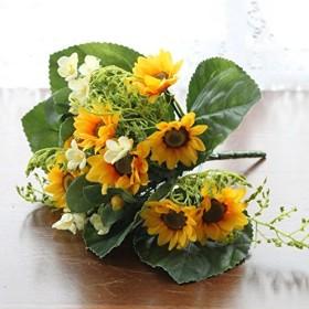 山久 夏のディスプレイに。 サンフラワー ミックスブッシュ VE-6536 1506-1417 CT触媒加工 ひまわり 向日葵 造花 シルクフラワー