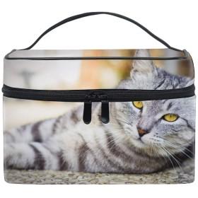 灰色の猫の緑色の目アメリカのボブテイル化粧品収納 小物入れ 軽量 防水 旅行も便利 かわいい おしゃれ キャリーケース