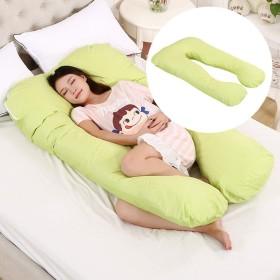 多機能マタニティ用枕、腰用枕、サイドスリーパー、コットン脱着可能、U型ナップピロークッション、70x130cm Green