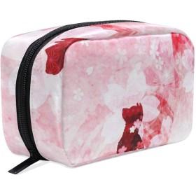 犬柄 桜柄 化粧ポーチ メイクポーチ 機能的 大容量 化粧品収納 小物入れ 普段使い 出張 旅行 メイク ブラシ バッグ 化粧バッグ