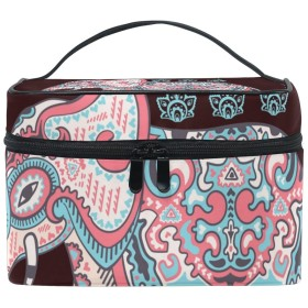 Natax 化粧ポーチ 大容量 かわいい おしゃれ 機能的 バニティポーチ 収納ケース ポーチ メイクポーチ ボックス 小物入れ 仕切り 旅行 出張 持ち運び便利 コンパクトボヘミア 民族風 インディアン 象