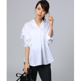 (UNTITLED/アンタイトル)【洗える】リヨセルシルクストライプシャツ/レディース ホワイト(002)