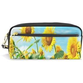 ALAZA ヒマワリ 鉛筆 ケース ジッパー Pu 革製 ペン バッグ 化粧品 化粧 バッグ ペン 文房具 ポーチ バッグ 大容量