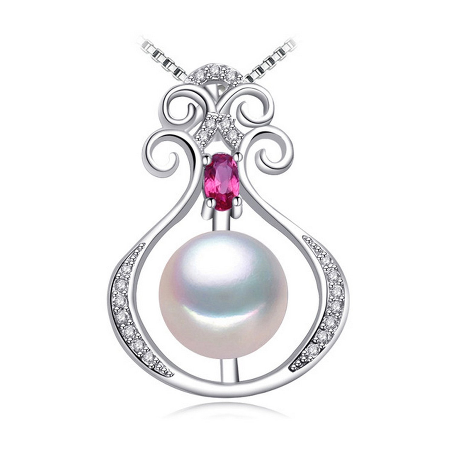 CS-DB Jewelry Silver Simulated Pearl Chain Charm Pendants Necklaces
