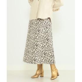 (BEAMS WOMEN/ビームス ウィメン)Ray BEAMS/フェイク スエード レオパード柄 マキシ スカート/レディース WHITE