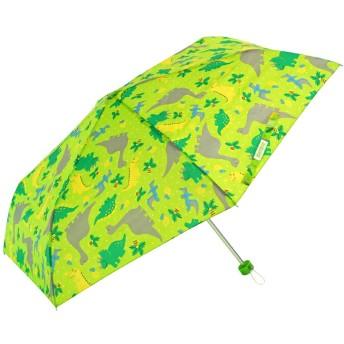 アテイン KIDS用 軽量楽々3段折畳傘 親骨50cm きょうりゅう 黄緑 5156