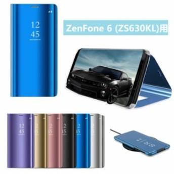 Asus ZenFone 6 (ZS630KL)用保護カバー メッキ 鏡面 液晶保護ブックカバー ワイヤレス充電対応 スタンド機能付き 手帳型 【I920】