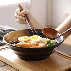 セラミック和風ヴィンテージ和風サラダボウル大クリエイティブホームレストランラーメン丼 (Color : BLACK)