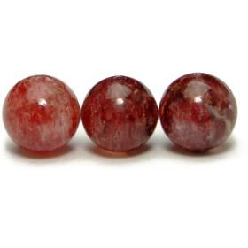 g3-652E 8mm 1粒売り AA ストロベリークォーツ 苺水晶 ブラジル産 天然石 パワーストーン