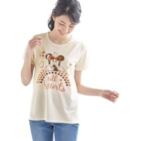 [ベルメゾン] ディズニー Tシャツ 半袖 レディース UV ケア メッシュ チュニック Tシャツ ミニーマウス(オフホワイト) L