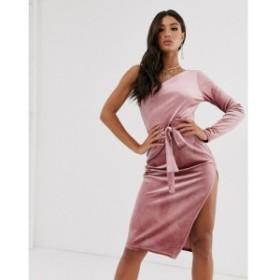 プリティリトルシング PrettyLittleThing レディース ボディコンドレス ワンピース・ドレス velvet one shoulder bodycon dress in pink