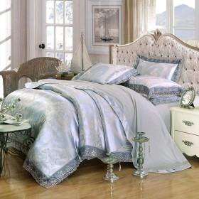 無地の綿の寝具のサテン4部分の見えないジッパーのベッドカバーのジャカードシートの結婚式の家のための枕カバーシングル/ダブル-lakeside-A