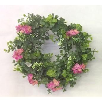 玄関飾り 造花★ユーカリ×ハイドランジア(ローズ) リース28cm