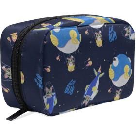 おもしろの猫 熱気球 化粧ポーチ メイクポーチ 機能的 大容量 化粧品収納 小物入れ 普段使い 出張 旅行 メイク ブラシ バッグ 化粧バッグ
