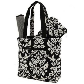 Belvah Quilted Damask 3pc Diaper Bag (Black) by Belvah