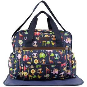 Kadahis マザーズバッグ 大容量 軽量 防水 PVC ママバッグ おむつ付き トートバッグ 出産 祝い ギフト (ネービー)