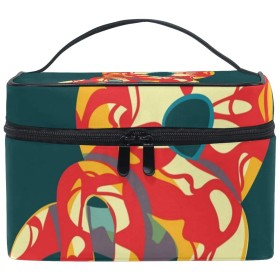 メイクボックス 蛇 ネズミ柄 化粧ポーチ 化粧品 化粧道具 小物入れ メイクブラシバッグ 大容量 旅行用 収納ケース